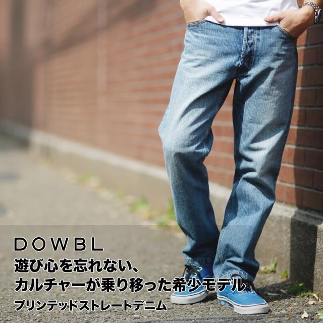 DOWBL/ダブル/プリンテッドストレートデニム【全2...