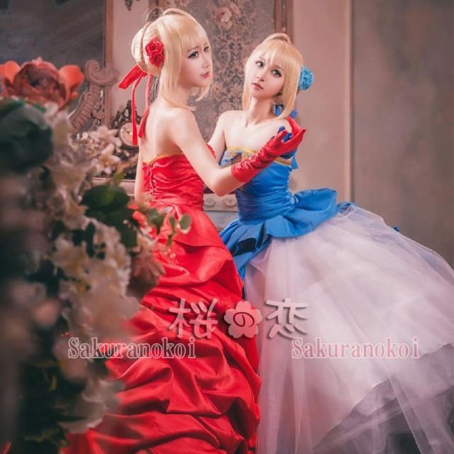 FATE/ZERO TYPE,MOON10周年記念 セイバー 風 ドレス コスプレ衣装 赤青タイプ