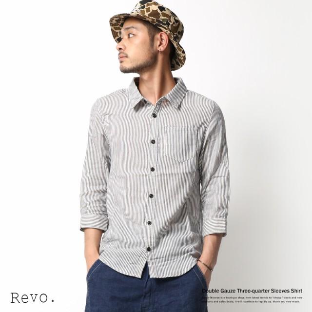 カジュアルシャツ メンズ 7分袖 ストライプ チェ...