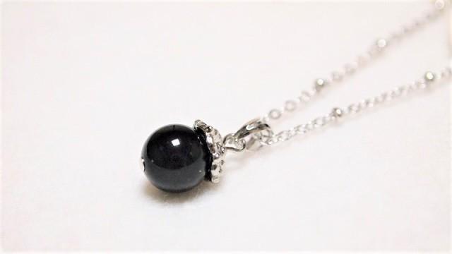 モリオン(黒水晶)のシンプル一粒ネックレス 霊...