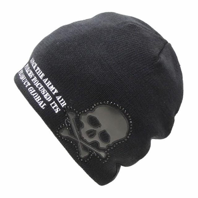 ワッチ(ニット帽)◆スカルエンブレム★ブラック