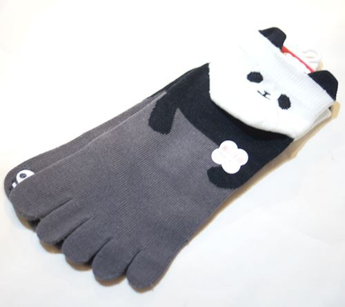 かかと パンダ 5本指ソックス 【T05033-GY】