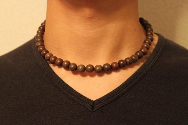 グレーウッド 10ミリ 数珠 ネックレス 送料無料...