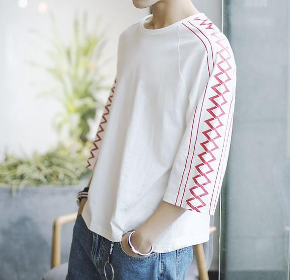 【春夏】2色 Tシャツ メンズ 7分袖 ひし柄 オシャ...
