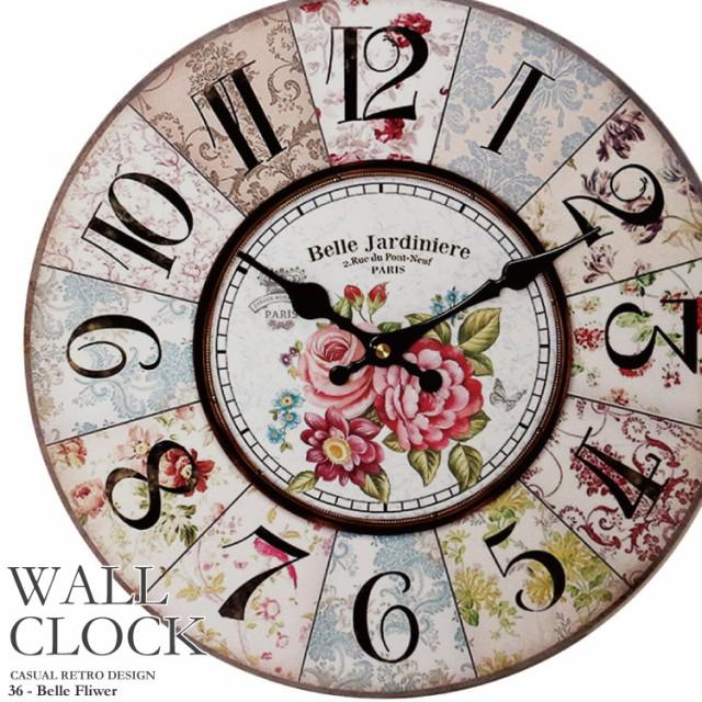 幅34cm 壁掛け時計《ベルフラワー》レトロ調アン...