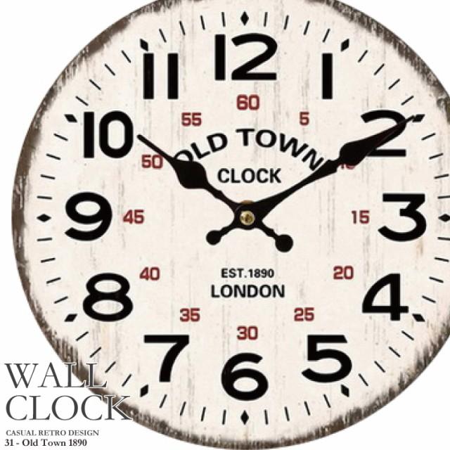 幅34cm 壁掛け時計《オールドタウン1890》レトロ...