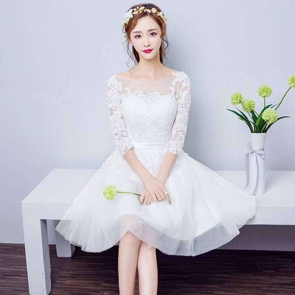 大人気ミニドレス 白 安い ウエディングミニドレス 結婚式 ブライダル 披露宴 パーティドレス 二次会 花嫁