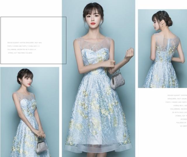 イブニングドレス結婚式 ドレス ドレス 膝丈 Aラ...