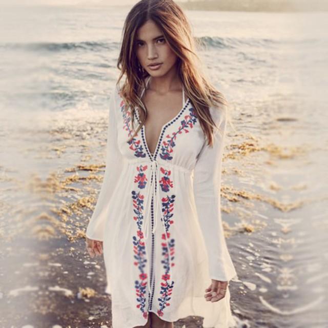 2d86e2d7b2a リゾート 水着の上 ワンピ ビーチウェア 花柄刺繍 大人 水着の上に着る ...