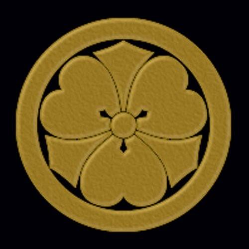 一般家紋蒔絵シール 03.丸に剣片喰/GD