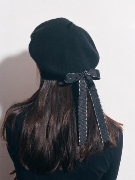 帽子 秋冬 ウール ベレー帽 リボン