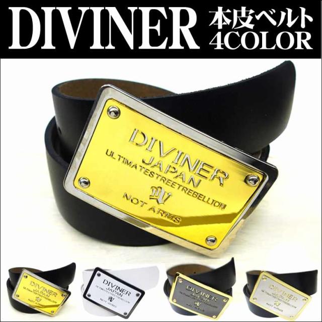 DIVINER 本皮ベルト ビックバックル ゴールド...