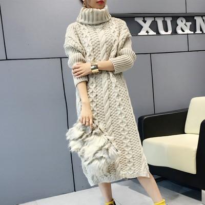 韓国ファッション タートルネックロング丈 ニッ...