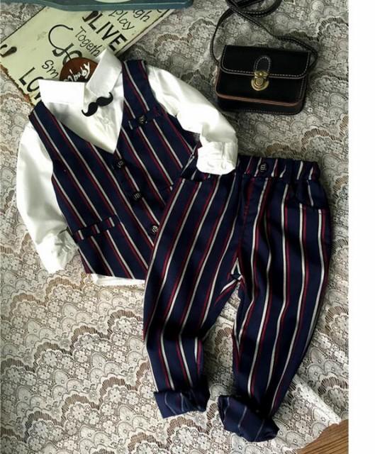 新作長袖子供スーツ3点セット/フォーマル/タキシ...