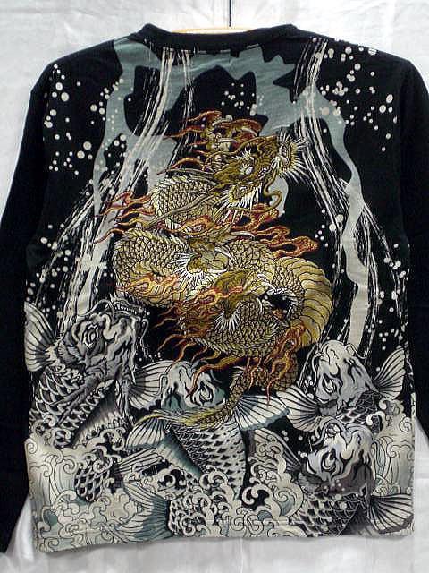 華鳥風月 和柄長袖Tシャツ 登竜門刺繍