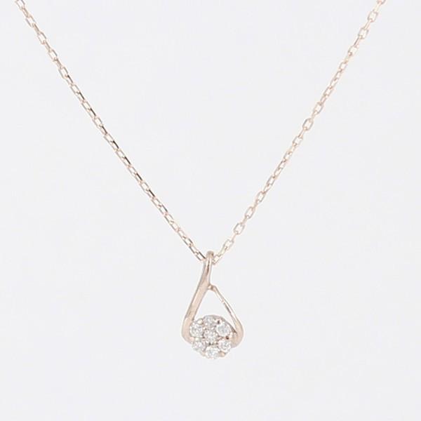 天然ダイヤモンド お花型 ピンクゴールド プチ...