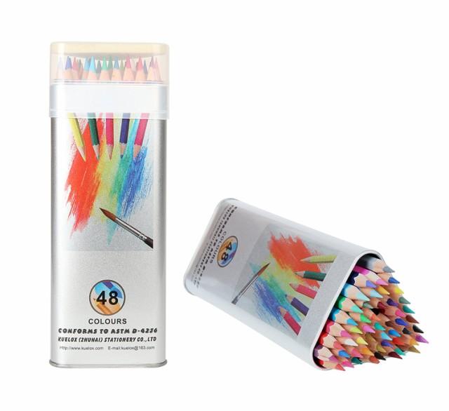 Kasimir 48色鉛筆 絵の具 水溶性色鉛筆 アート鉛筆 塗り絵用 水彩 色鉛筆