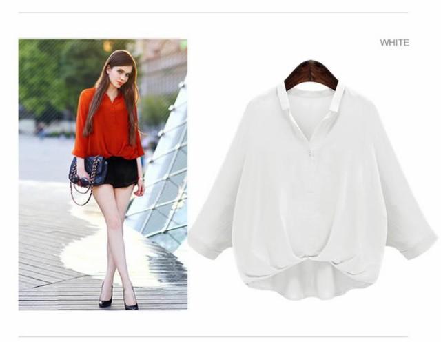 カジュアルな七分袖 スキッパー シャツ ホワイト