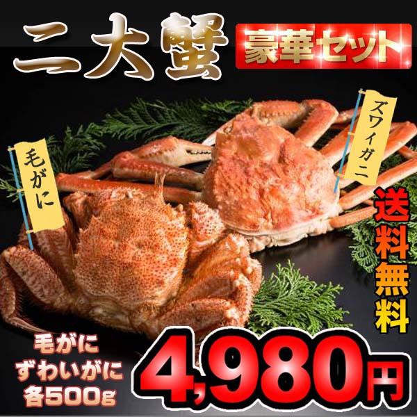 【送料無料】北海2大カニギフト(毛ガニ500g・ズ...