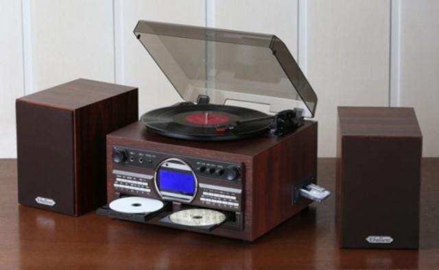 DVDカラオケ録音機能付き木製CDコピー多機能プレ...