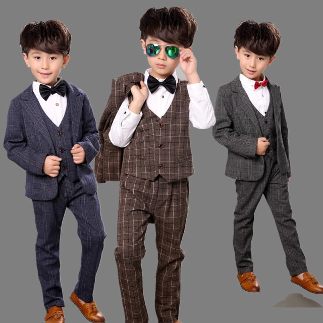292dd97595382 春秋ボーイズ男の子フォーマルスーツ上下セットアップ子供服キッズジャケット+ベスト+パンツ結婚