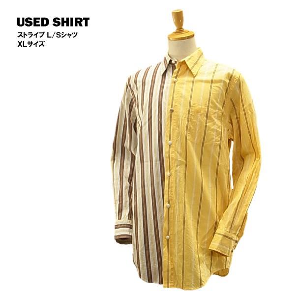 USED L/S シャツ イエロー/ブラウンストライプ/XL...