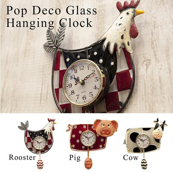 壁掛け時計 可愛らしいデザイン Pop Deco Glass...