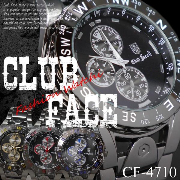 ブラックメタルバンド 44mmメンズ腕時計 -clubfa...