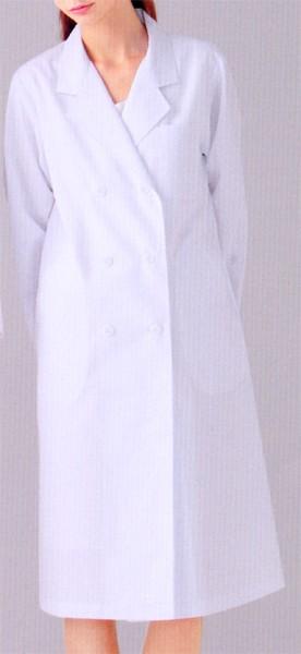 125-90 レディス診察衣W型  長袖 全1色 (看...