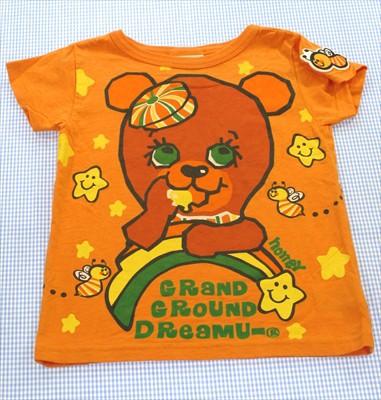 グラグラ GRAND GROUND Tシャツ 半袖 100cm オレ...