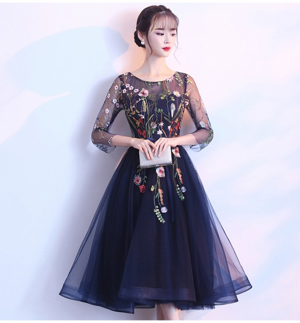 刺繍&袖ありパーティードレス  ミディアムドレス...