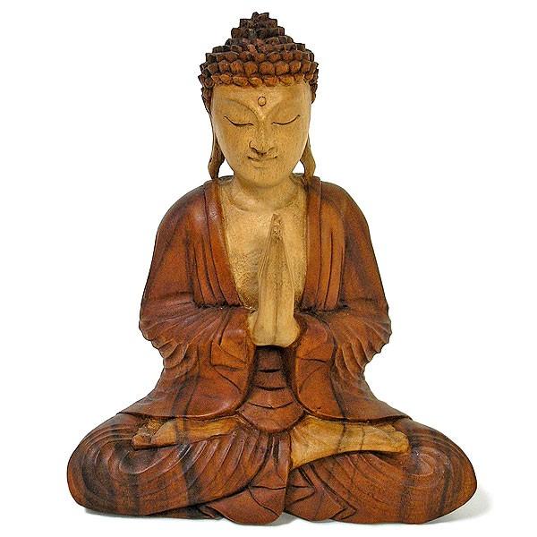 木彫りの仏陀 坐像 H ナチュラル [H.31cm] アジ...
