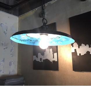 廃材を使用したランプシェード【照明】1灯ペンダ...