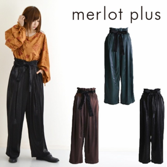 【merlot plus】 ベロアリボンベルト付き艶感ワイ...