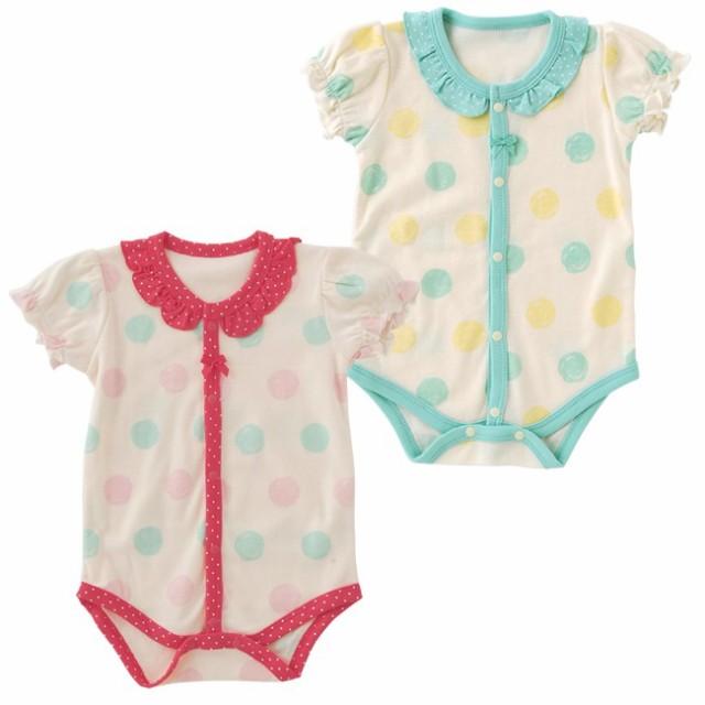 ドット半袖ロンパース[ベビー服][赤ちゃん][ベビ...