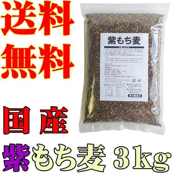 紫もち麦 1kg×3袋【H30年産 国産 100% もち麦ご...