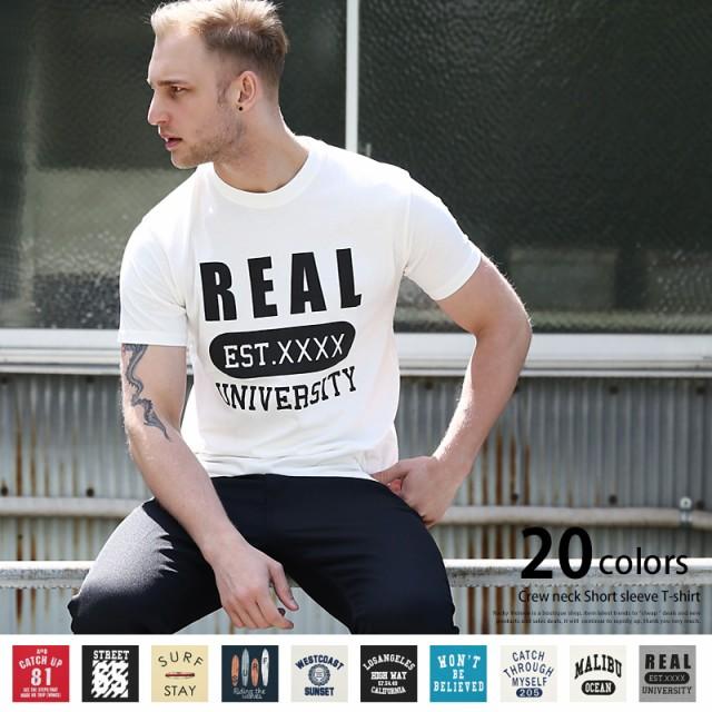 Tシャツ メンズ 半袖 プリント クルーネック ロゴ...