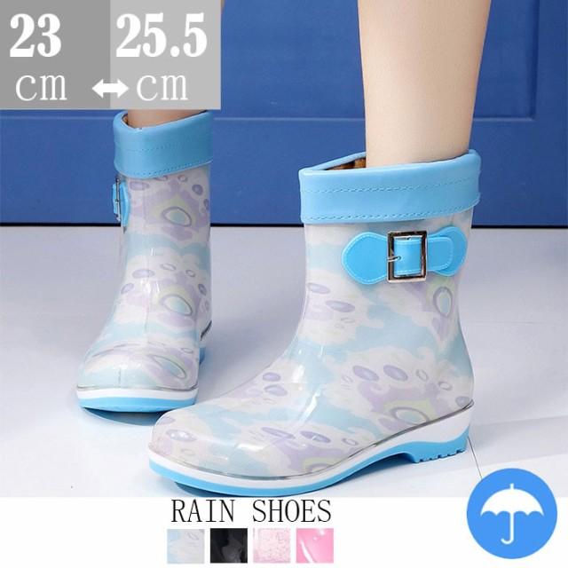 雨靴 レディース ショート レインブーツ ヒール ...