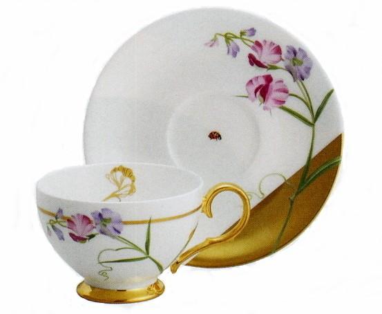 ティー・コーヒー碗皿 レディ−バグ スイトピー