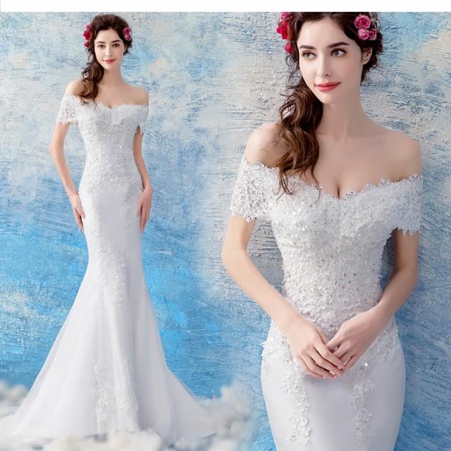 bd0420decd793 マーメイドラインウエディングドレス オフショルダーロングドレス白ホワイト ウエディングドレス花嫁 結婚式 披露宴