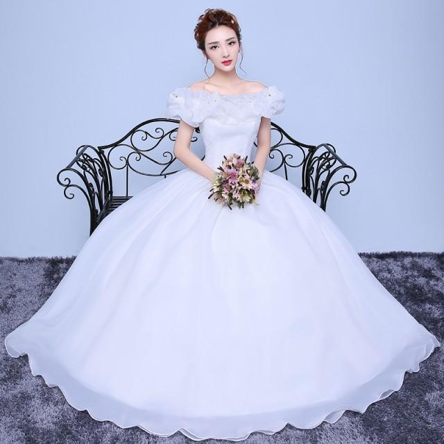 dacd3589c6ba2 オフショルダー 着痩せ ウエディングドレス 白ホワイトドレス 舞台衣装 パーティドレス イブニングドレス 結婚式