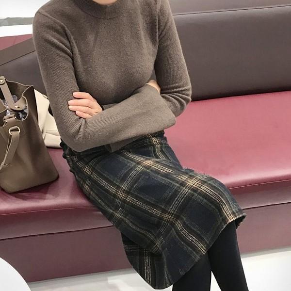 グレンチェック柄 ミモレ丈 Aラインスカート 秋 ...