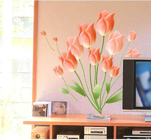 ウォールステッカー 橙色チューリップ 壁紙シール...