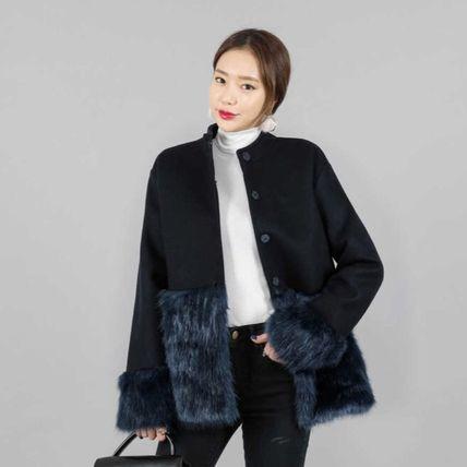 韓国ファッション エコファー 切り替え ウールコ...