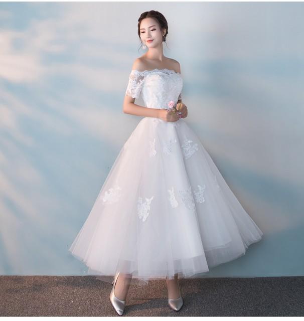 上品さ ミディアムドレス 演奏会 結婚式ドレス ウ...