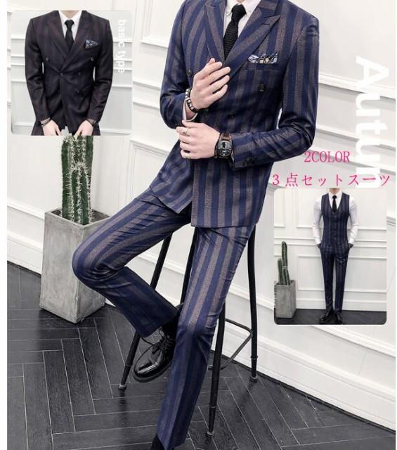 韓国スタイル 就職 紳士服 3ピーススーツ ビジネ...