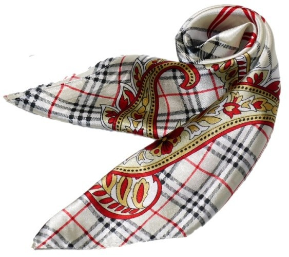 かわいいシルク調スカーフ 中判 60cm正方形スカ...