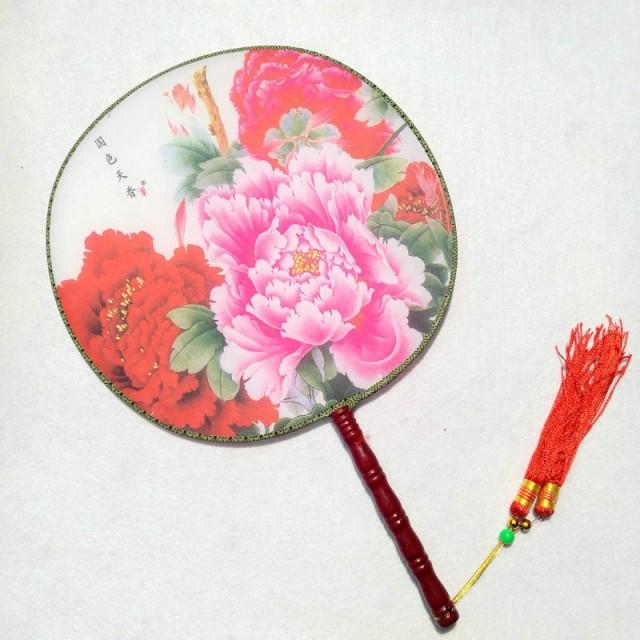 古典丸形団扇 踊り扇子団扇(うちわ)中国伝統柄...