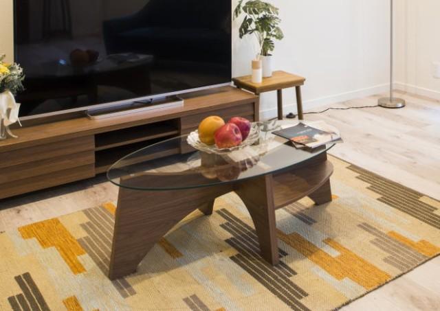【在庫処分価格】北欧風ガラステーブルローテーブ...