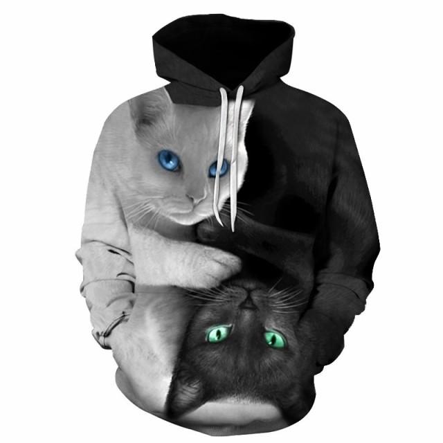 猫 猫柄 パーカー スウェット プルオーバー メン...